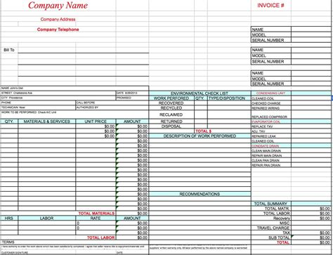 hvac invoices templates free hvac invoice template excel pdf word doc