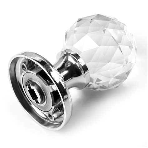 2x Extra Large Crystal Glass Door Knobs Handles Internal Door Knobs Glass