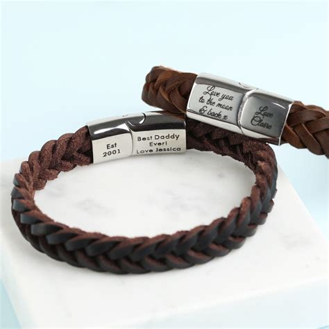 personalised s brown woven leather bracelet