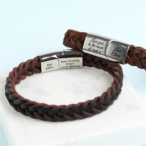 mens personalised brown leather bracelet personalised s brown woven leather bracelet