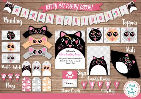 cat themed decorations cat themed birthday decor by livisprintables