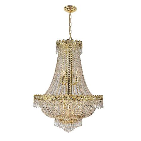 worldwide lighting empire collection  light polished gold  clear crystal chandelier