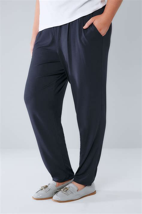 Modell S Gift Card Balance Check - navy double pleat jersey harem trousers plus size 16 to 36