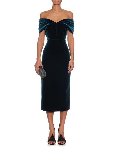 Murena Black Green emilio de la morena the shoulder velvet midi dress in green lyst