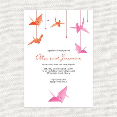 Origami Crane Wedding Invitations - paper crane printable wedding invitation origami bird