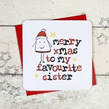 merry christmas   favourite sister greeting card  parsy card  notonthehighstreetcom