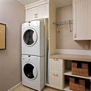 Laundry Hers For Small Spaces Stacked Washer And Dryer Laundry Layout Great For A Small Space I Like How There S A Cubby For