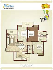3bhk house plan overview exotica esatern court ghaziabad exotica