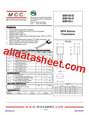 transistor s9018 datasheet s9018 h datasheet pdf micro commercial components