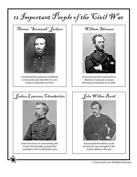 civil war worksheets 5th grade printable civil war generals and criminals woo jr kids activities