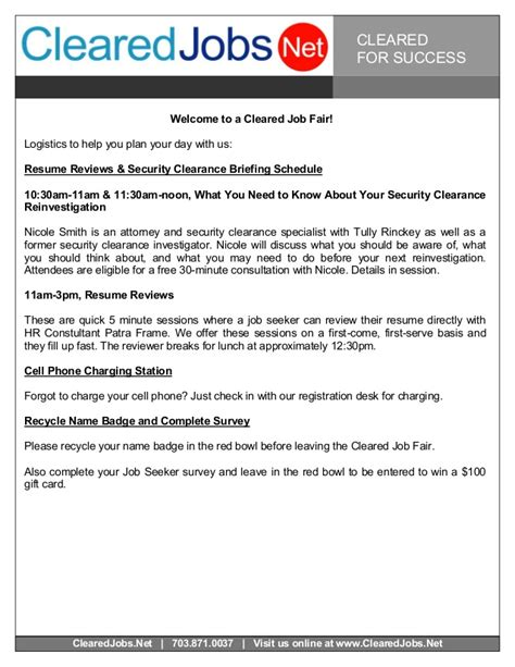 resume security clearance exle cleared fair seeker handbook nov 20 2014