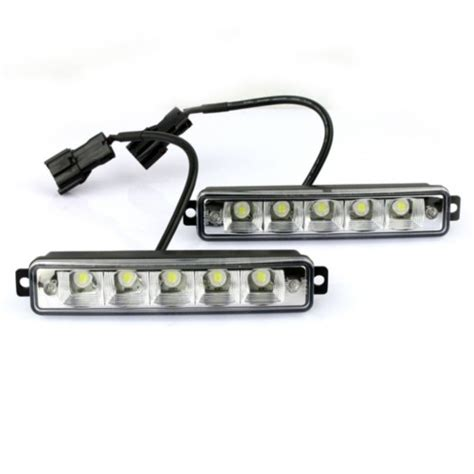 universal led car daytime running daylight drl fog light 2x 5 led white universal daytime running driving light drl