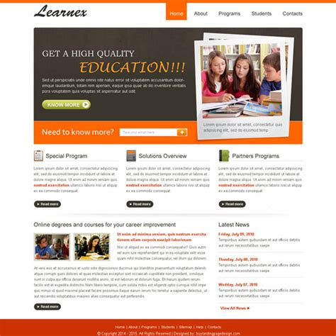 High Quality And Converting Education Website Template Design Psd Qa Website Template