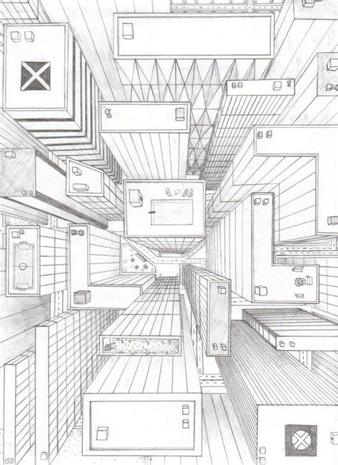bird s eye view sketch of indoor outdoor house interior design ideas directly overhead birds eye view perspective drawing 6th