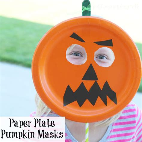 How To Make Scary Masks Out Of Paper - easy paper plate pumpkin mask onecreativemommy