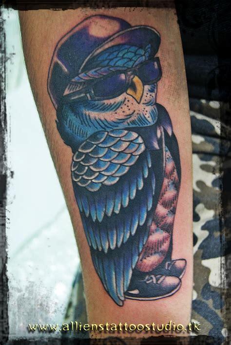 gambar tato burung hantu berwarna kumpulan gambar bagus