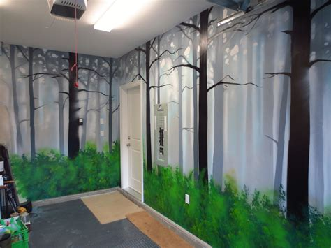 How To Paint Mural On Wall How To Paint A Misty Forest Mural Using Spray Paint Youtube