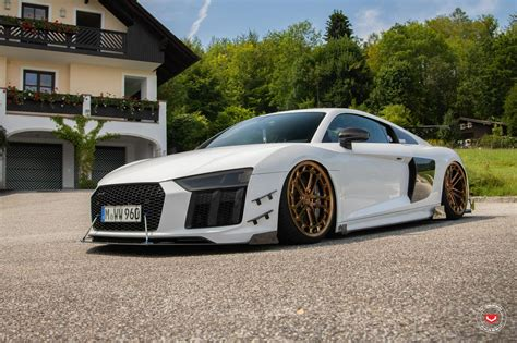 audi r8 wheels audi r8 gets vossen lc2 c1 gold wheels and racing kit