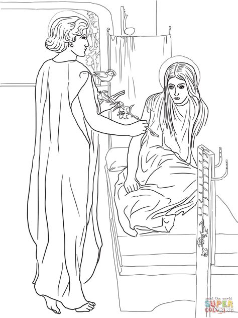 coloring page of angel visiting mary coloring pages mary and angel coloring home