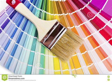 paint colors catalog catalog with paint color sles and brush stock photo