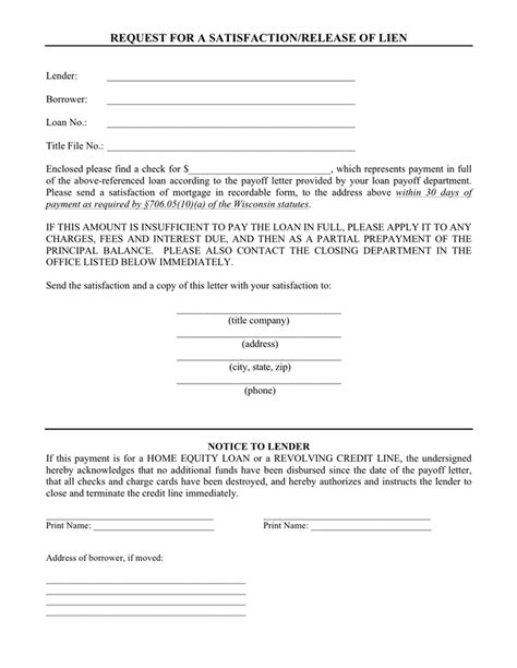 Lien Release Request Letter request for a satisfaction release of lien wisconsin in
