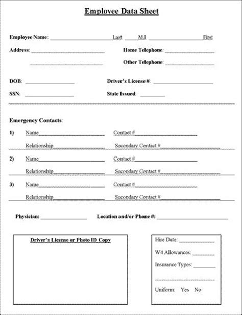 employee information form template employee information sheet hay information and business
