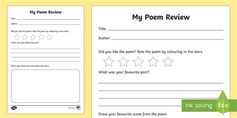 Poem Review Writing Frames Book Review Writing Frame Book Poetry Book Review Template