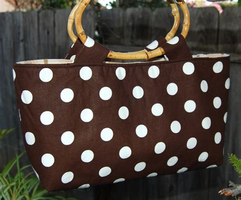 dot pattern system sewing brown polka dot handbag with bamboo handles and additional