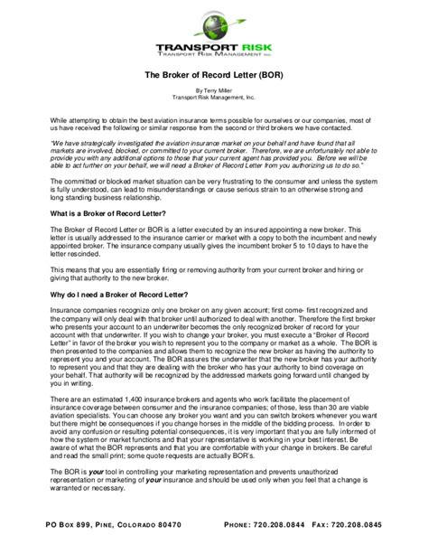 Insurance Bor Letter Broker Of Record Letter Bor What Is A Bor