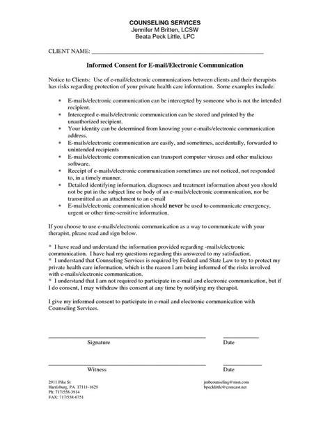 informed consent form template counseling informed consent form template counseling