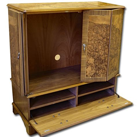 Tv Cabinet Enclosed enclosed reproduction tv cabinet in yew mahogany oak burr