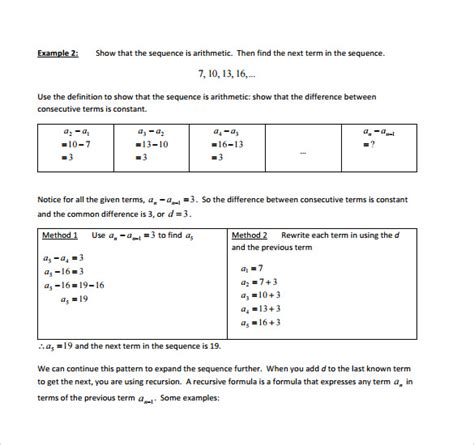 sle arithmetic sequence exle 7 free documents in