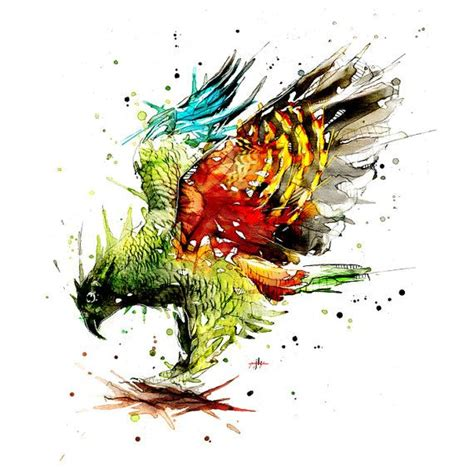 watercolor tattoo new zealand kea watercolour print in 2018 тату