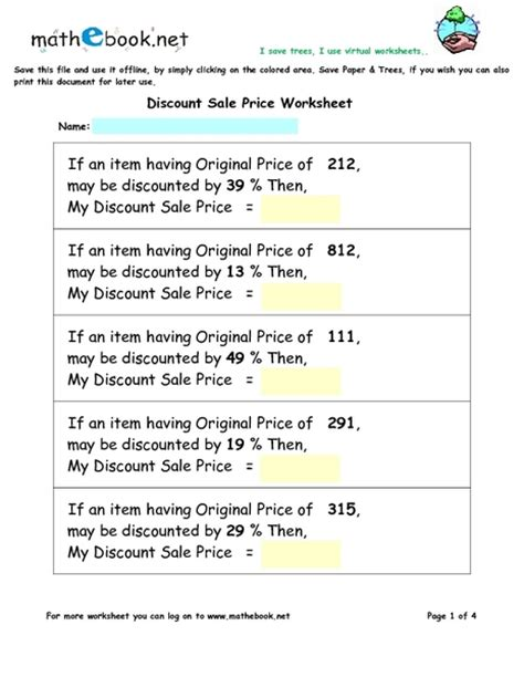 Discount Worksheets by Pictures Discount Worksheets Getadating