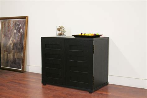 Concealed Computer Desk Black Wood Concealed Computer Desk Cabinet Table Modern Ebay