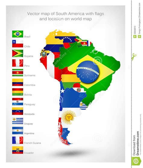 south america map with flags vector map of south america with flags stock vector