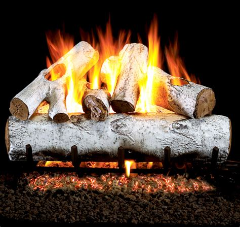 White Birch Gas Fireplace Logs by Real Fyre White Birch Vented Gas Logs