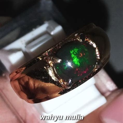 Cincin Batu Akik Cewek cincin batu akik black opal kalimaya hitam asli kode 1086
