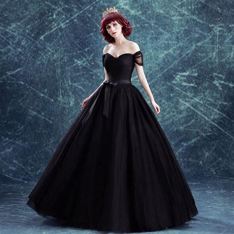 plain black veil ball gown bowknot waist long medieval