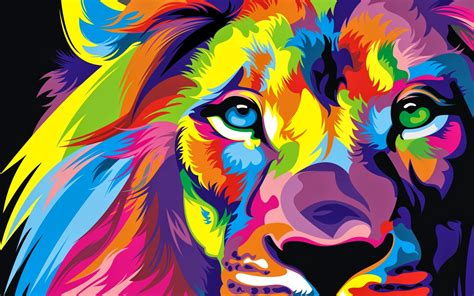 wallpaper hd colorful lion colorful artwork wallpapers hd wallpapers id 19425
