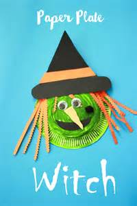 Easy Kid Crafts For Christmas - fun paper plate witch halloween craft make and takes