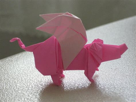 Origami Flying Pig - origami flying pig by saberfiretiger on deviantart