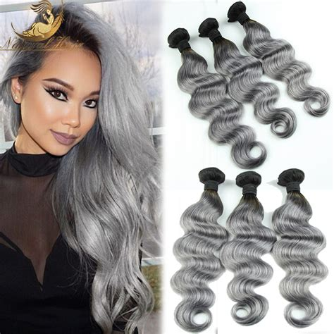 body wave on gray hair new arrival brazilian body wave 3pcs lot ombre silver grey