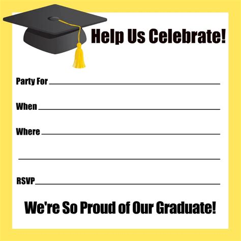 Card Insert Template Free For Graduation by 40 Free Graduation Invitation Templates Template Lab