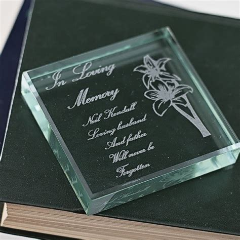 personalised in loving memory engraved glass keepsake