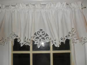 White Cotton Drapes On Sale White Shabby Battenburg Lace Valance Country Curtain