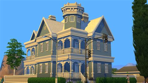 Old Victorian House Plans Sims 4 Blue Victorian House By Ramborocky On Deviantart