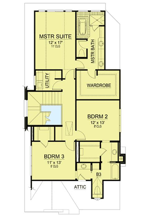 narrow master bathroom floor plans 3 or 4 bed tudor for narrow lot 36446tx 2nd floor