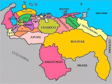 imagenes de venezuela en el mapa aprende los estados y las capitales de venezuela