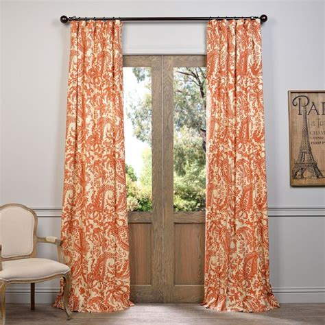 rust drapes edina rust printed cotton curtain contemporary